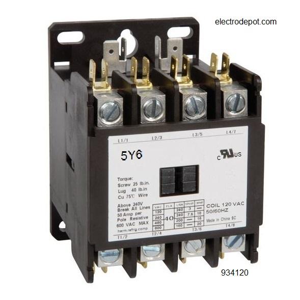 normally open (n o ) contacts 32 a  incandescent, led or resistive load 20  a  ballast, 7 5hp @480v auxiliary contact 1no 18 amp  3 pole 931810